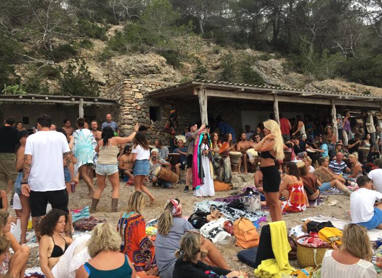 Ibizas Hippies dancing at Cala Benirras for sunset